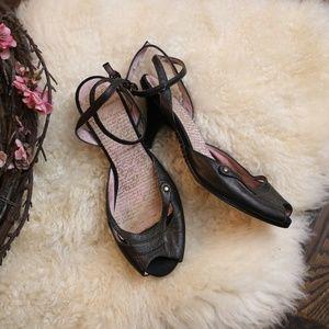 Diesel Kitten Heel Peep Toe Ankle Strap Black 7